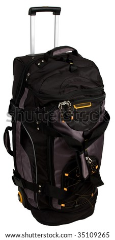 Rolling Luggage Duffle Bag with Pull Handle - stock photo