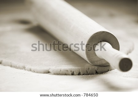 Rolling Pin and Cookie Dough - stock photo