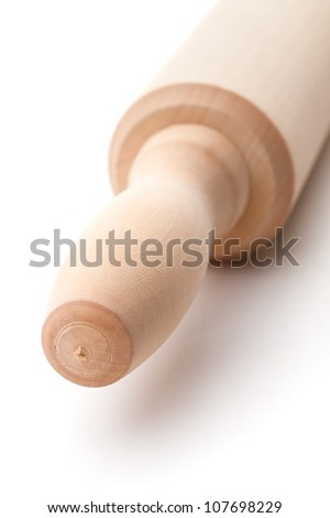 Rolling pin, beater, close-up shot, isolated on white background