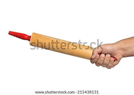 rolling pin in hand on a white background - stock photo
