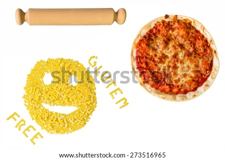 rolling pin, pasta and pizza gluten free - stock photo