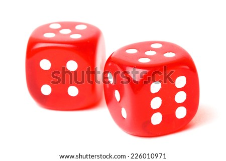 rolling red dice isolated on white. studio shot - stock photo