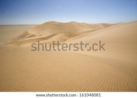 Rolling sand dunes of the Namib desert, Namibia. - stock photo