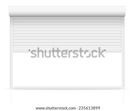 rolling shutters illustration isolated on white background - stock photo
