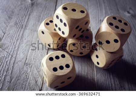 Rolling the dice concept for business risk, chance, good luck or gambling - stock photo