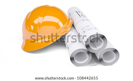 Rolls of architectural drawings and orange construction helmet. Isolated on white background - stock photo