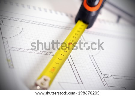 Rolls of architectural house plans. Close up