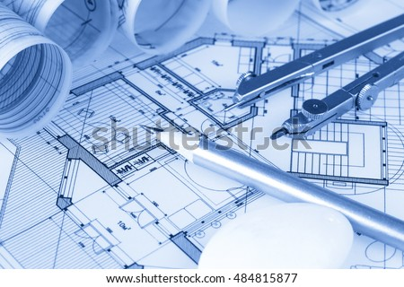 Rolls architecture blueprints house plans stock photo 484815877 rolls of architecture blueprints house plans malvernweather Images