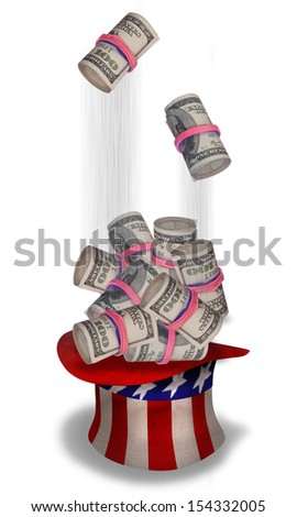 Rolls of cash falling into Uncle Sam hat. - stock photo