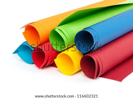 Rolls of color paper - stock photo