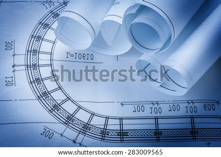 Rolls of construction drawings building and architecture concept  - stock photo