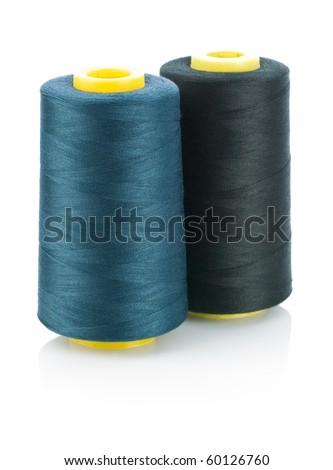 rolls of dark string isolated - stock photo