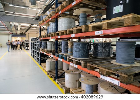 Rolls of different size and color cables in a cable processing and module production factory, Sofia, FESTO Bulgaria, September 11, 2015.