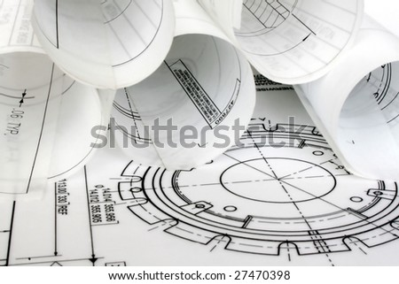 Rolls of Engineering Drawings - stock photo