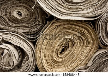Rolls of homemade  linen - stock photo