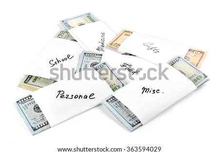 Rolls of money for needs isolated on white background - stock photo