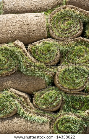 Rolls of new sod wait to be laid in place - stock photo