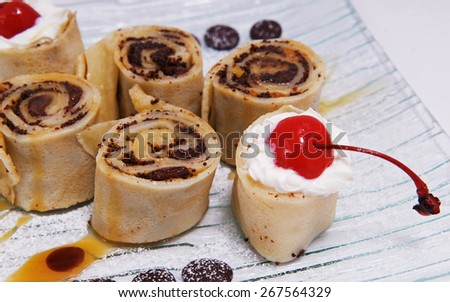Rolls of pancakes - stock photo