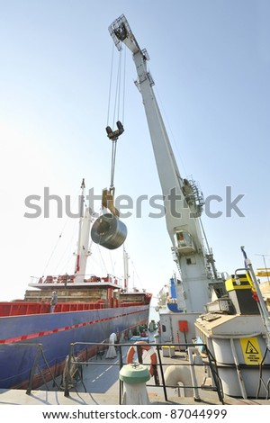 Rolls of steel sheet in the harbor  - stock photo