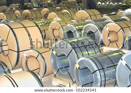rolls of steel sheet, Pre-painted steel coil - stock photo