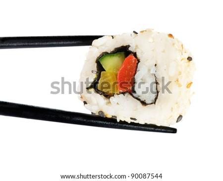 Rolls of sushi isolated on white - stock photo