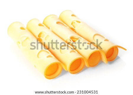 Rolls of thinly sliced emmental cheese with its characteristics eyes or holes aligned in an oblique row for editorial presentation on white - stock photo