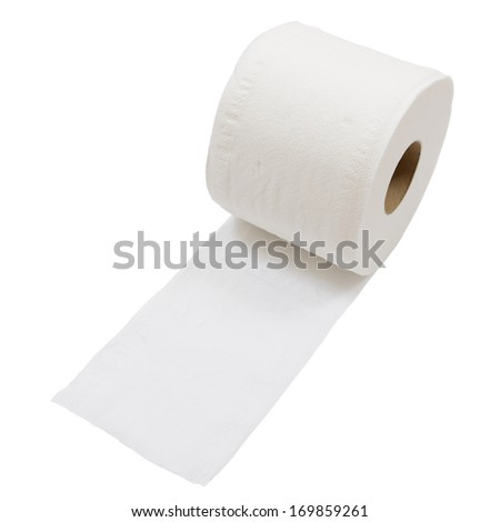 Rolls of toilet paper isolated on white background - stock photo