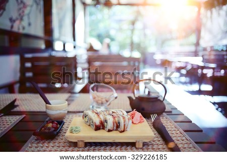 rolls serving in a Japanese restaurant - stock photo