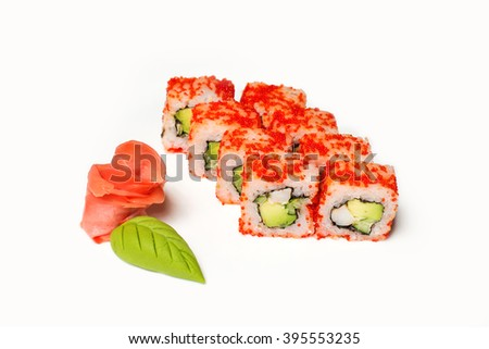 Rolls sushi with red roe