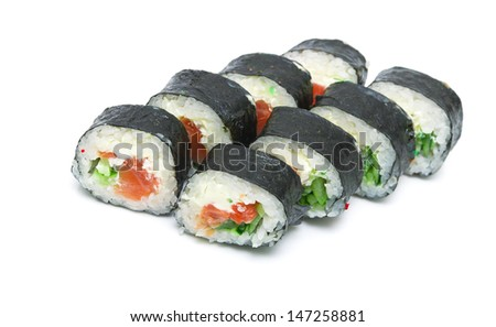 rolls with salmon and cucumber close-up isolated on a white background. horizontal photo.