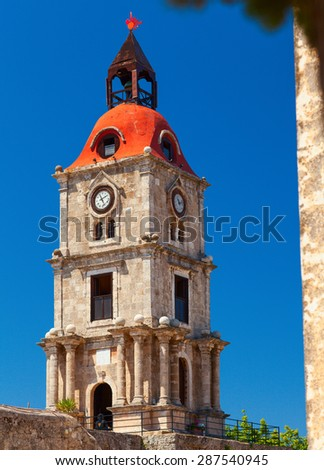 Roloi Clock Tower, at Rhodes Island, Greece	 - stock photo