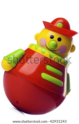 roly-poly toy on white with clipping path - stock photo