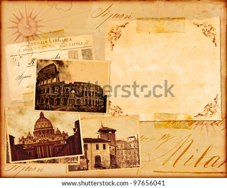 Roma - Vintage paper background with place for text  - stock photo