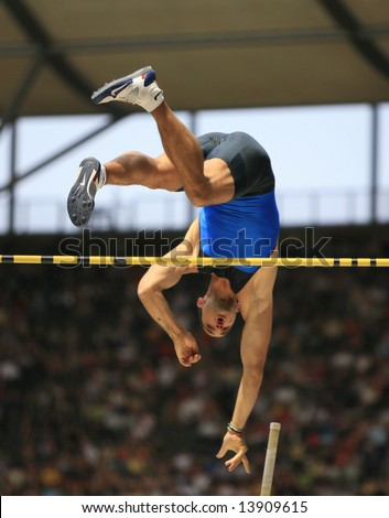 Romain Mesni France competing in the pole vault at the Istaf Berlin International Golden League Athletics held at Berlin's Olympia Stadium (Olympic Stadium) 1st June 2008 - stock photo