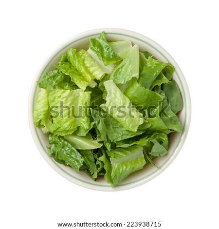 Romaine Lettuce Bowl isolated on a white background. - stock photo