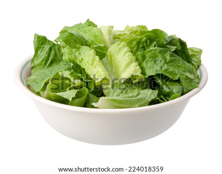 Romaine Salad Bowl isolated on a white background.