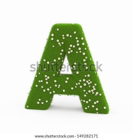 Roman alphabet of green and daisies A - stock photo