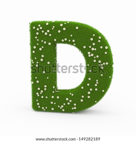 Roman alphabet of green and daisies D - stock photo
