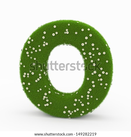 Roman alphabet of green and daisies O - stock photo