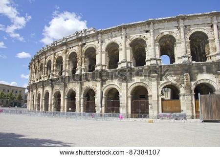 Roman Amphitheater in Nimes, France - stock photo