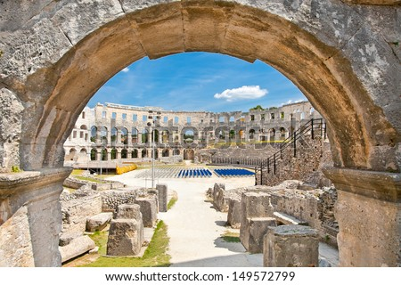 Roman amphitheatre (Arena) in Pula. It was constructed in 27 BC - 68 AD and is among six largest surviving Roman arenas in the World. Pula Arena is best preserved ancient monument in Croatia. - stock photo