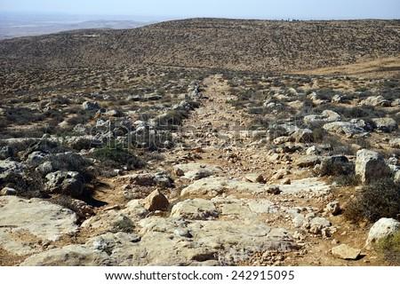 Roman ancient road and mountain near Amasa, Israel                                - stock photo