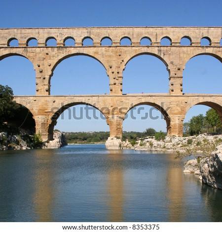 Roman aqueduct at Pont du Gard France - stock photo
