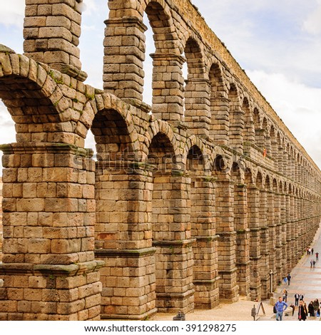 Roman Aqueduct of Segovia, Spain. It is the UNESCO World Heritage - stock photo