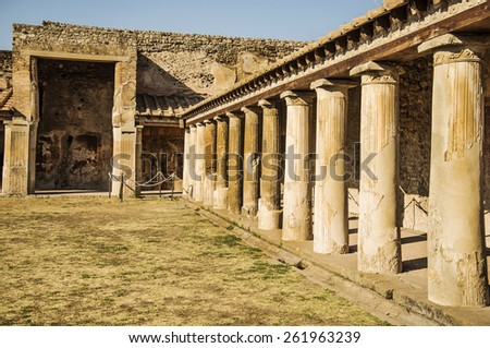 Roman archeologic ruins of the lost city of  Pompeii,  Italy - stock photo