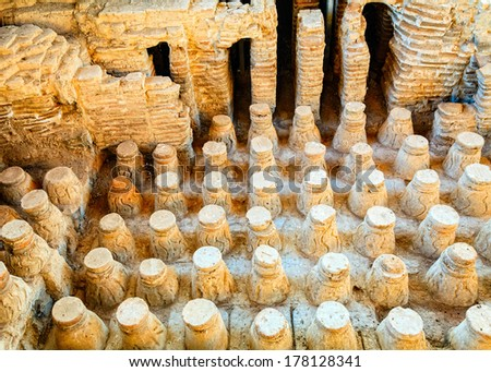 Roman bath floor in the city of Beit She'an in Israel - stock photo