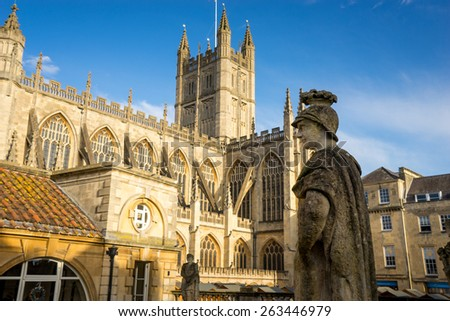 Roman Baths & Abbey in Bath Spa city, England - stock photo