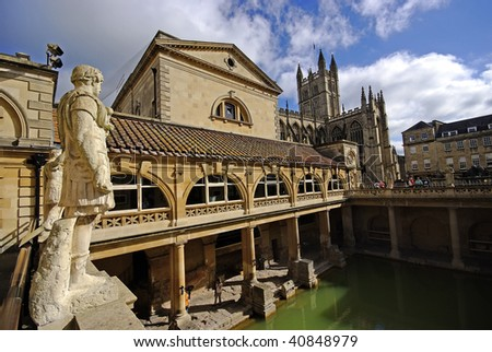 Roman baths, Bath, Somerset, UK - stock photo