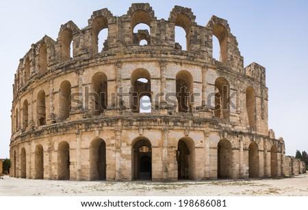 Roman biggest amphitheater inEl Djem. Panorama, Africa, Tunisia - stock photo