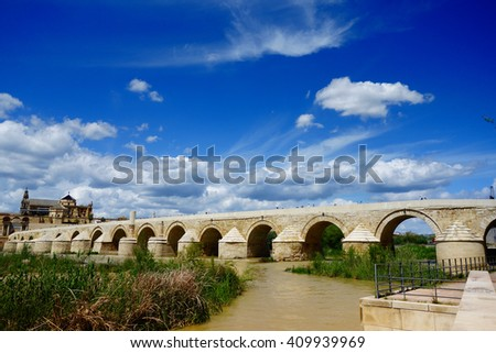 Roman Bridge and Guadalquivir river, Cordoba, Andalusia, Spain